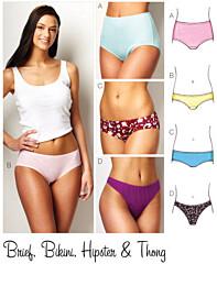 KwikSew 3881 lingerie Dames heupslip, bikinislip, heupslip en string