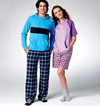 Kwik Sew 3981 - Top met capuchon, lounge shorts en broek voor dames en heren