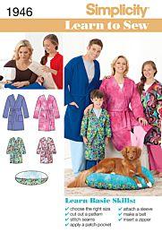 Simplicity 1946 Badjas of ochtendjas voor het hele gezin en een hondenkussen